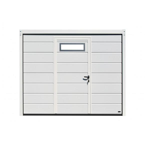 Porte de garage sectionnelle SESAME PRO blanche Rainurée motorisée aspect bois avec portillon