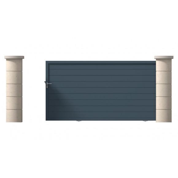 Portail coulissant AUTOPORTE MACON, LF400 HF180, lames horizontales de h300x25, RAL 9016, coulissant droit en vue extérieur