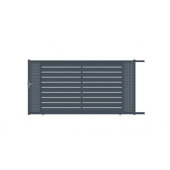 PORTAIL ALU COULISSANT CAPIA L350 H183 - GRIS (RAL7016)