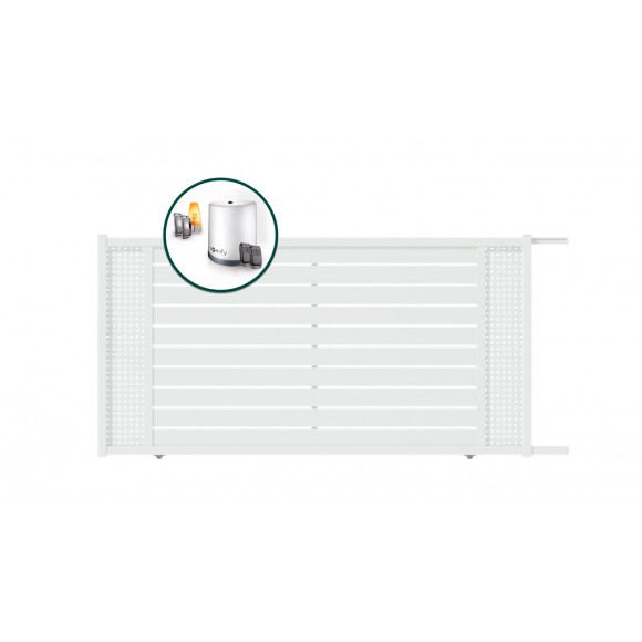 PORTAIL ALU COULISSANT MOTORISE SOMFY CAPIA L350 H183 - BLANC (RAL9016)
