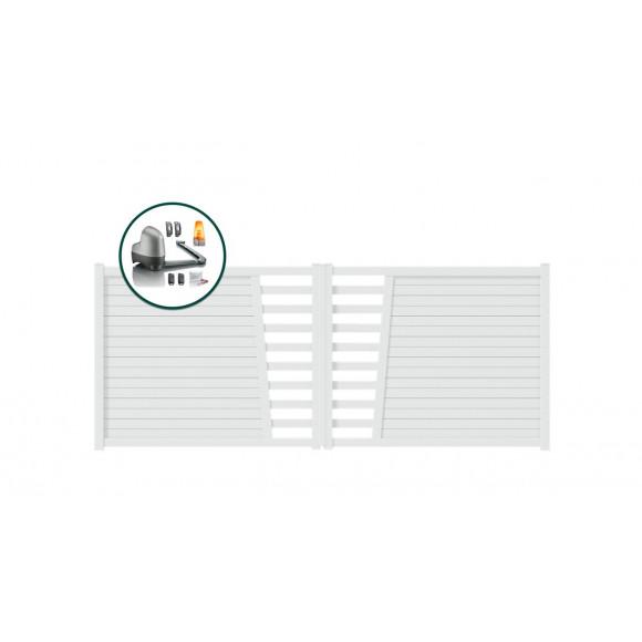 PORTAIL ALU BATTANT MOTORISE SOMFY TABA L400 H145 - BLANC (RAL9016)