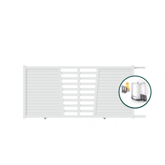PORTAIL ALU COULISSANT MOTORISE SOMFY TABA L350 H145 - BLANC (RAL9016)
