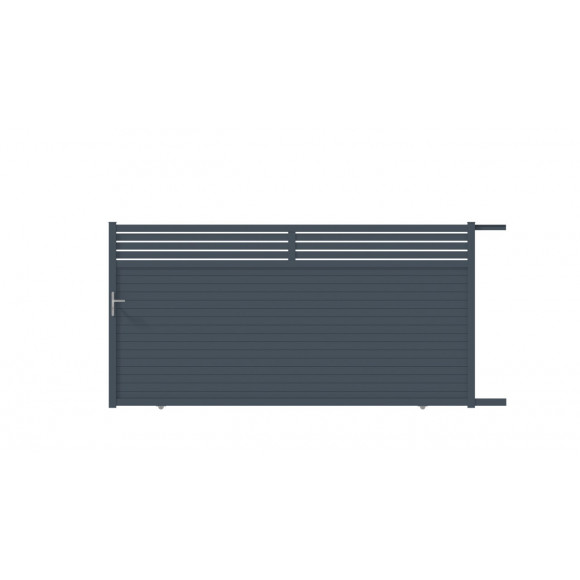 PORTAIL ALU COULISSANT INDIA L350 H185 - GRIS (RAL7016)