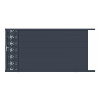 PORTAIL ALU COULISSANT OBLA L350 H187 - GRIS (RAL7016)