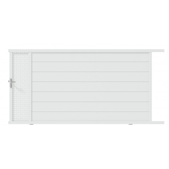 PORTAIL ALU COULISSANT OBLA L350 H187 - BLANC (RAL9016)