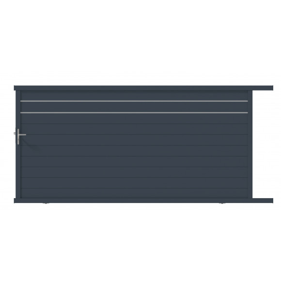 PORTAIL ALU COULISSANT GALA L400 H176 - GRIS (RAL7016)