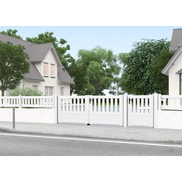 Portillon PVC à barreaux et portail assorti de couleur blanche