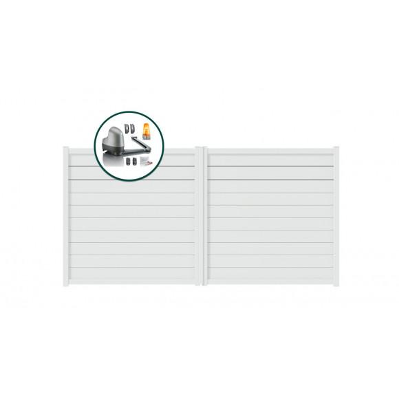 PORTAIL ALU BATTANT MOTORISE SOMFY GALA L300 H180 - BLANC (RAL9016)