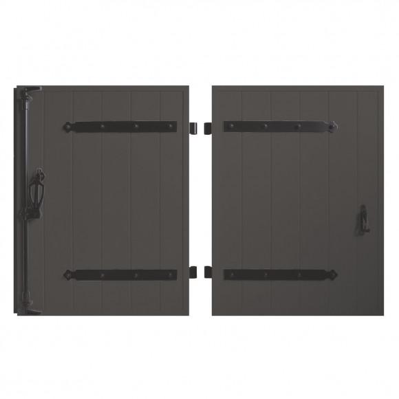 VOLETS BATTANTS PVC 2 VANTAUX PENTURE CONTRE PENTURE L140 H135 - GRIS (RAL7016 FT)