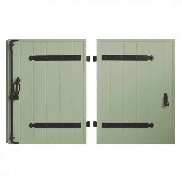 VOLETS BATTANTS PVC 2 VANTAUX PENTURE CONTRE PENTURE L120 H125 - VERT PÂLE (RAL 6021 FT)