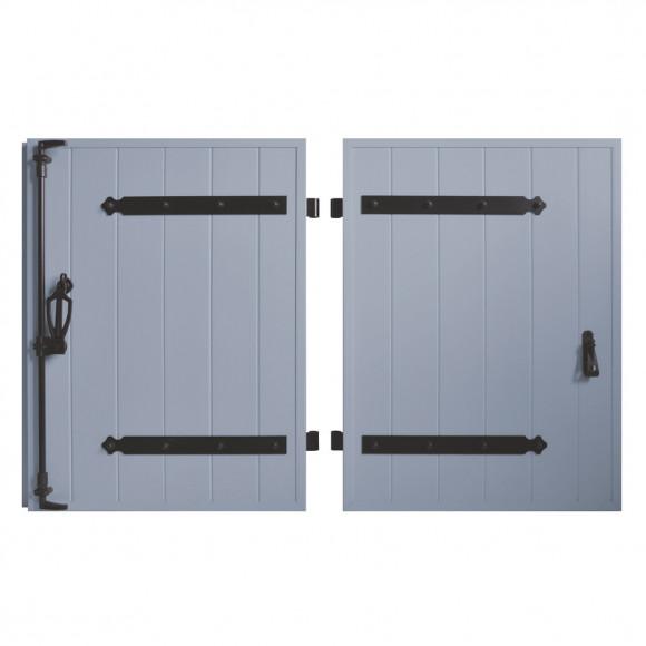 VOLETS BATTANTS PVC 2 VANTAUX PENTURE CONTRE PENTURE L140 H135 - BLEU PIGEON (RAL 5014 FT)