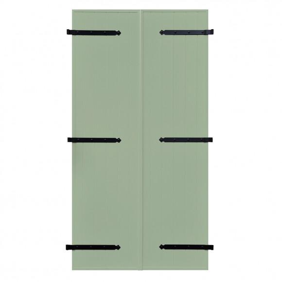 VOLETS BATTANTS PVC 2 VANTAUX PENTURE CONTRE PENTURE L140 H215 - VERT PÂLE (RAL 6021 FT)