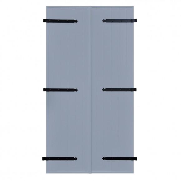 VOLETS BATTANTS PVC 2 VANTAUX PENTURE CONTRE PENTURE L140 H215 - BLEU PIGEON (RAL 5014 FT)