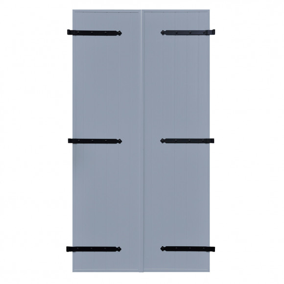 VOLETS BATTANTS PVC 2 VANTAUX PENTURE CONTRE PENTURE L120 H215 - BLEU PIGEON (RAL 5014 FT)