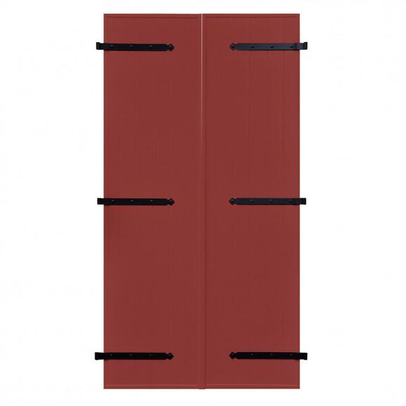 VOLETS BATTANTS PVC 2 VANTAUX PENTURE CONTRE PENTURE L140 H225 - ROUGE POURPRE (RAL 3004 FT)