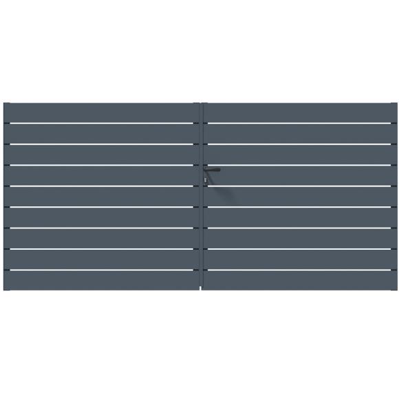 PORTAIL ALU BATTANT SAMBA L300 H143 MANUEL - GRIS (RAL7016)