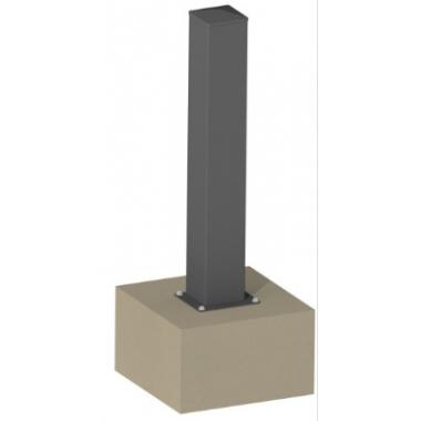 Poteau aluminium pour portillon 10x10 HF200 sur platine