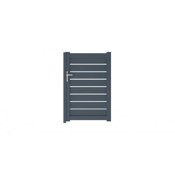 Portillon Alu poussant droit DUNE semi ajouré H150 Gris anthracite RAL7016